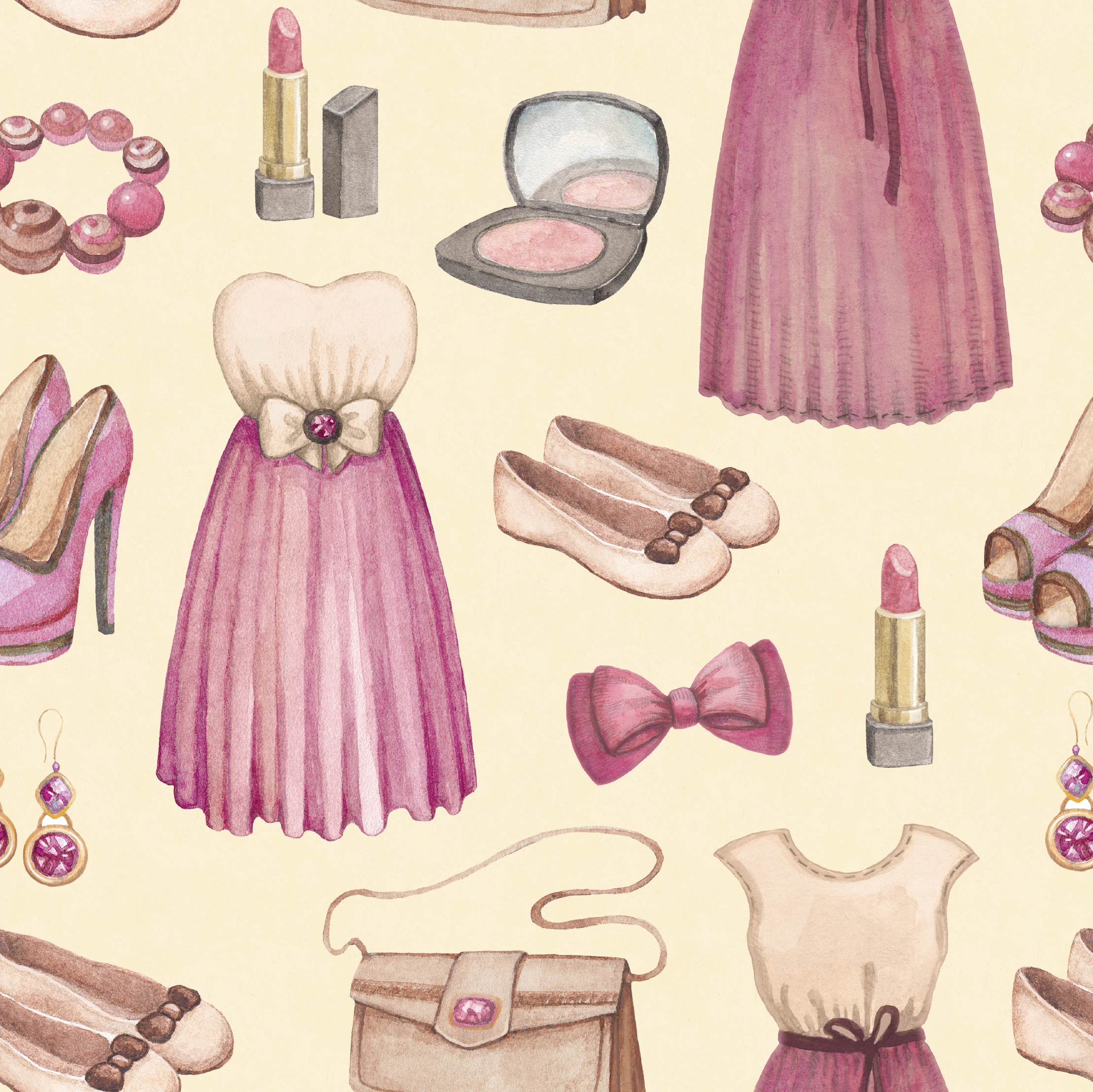 Watercolor fashion illustrations collection. Seamless pattern